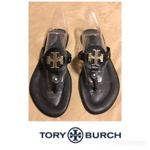 Tory Burch Miller Sandals Black With Gold Logo 7